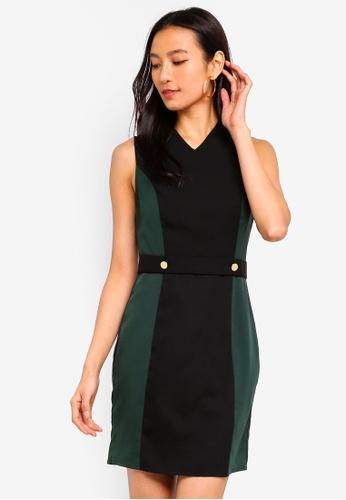 ZALORA black and green Button Detail Contrast Sheath Dress 4513EAA39D6877GS_1