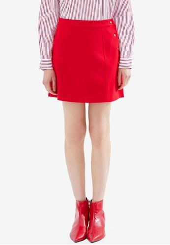 Hopeshow red Side Snaps Mini Skirt 04FD6AAE66BD6AGS_1
