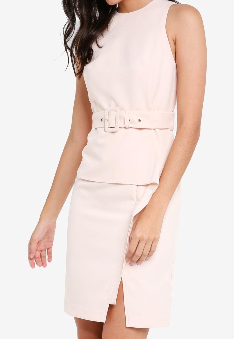 zalora belted peplum soft blush dress 8nq8zapxws. Black Bedroom Furniture Sets. Home Design Ideas