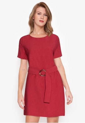 ZALORA BASICS red Mini Sheath Dress With Belt A82DEAA98F9F2CGS_1