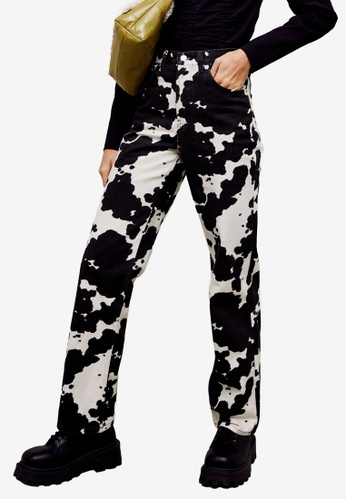 TOPSHOP brown PETITE Cow Print Jeans 5122DAAFDBEB81GS_1