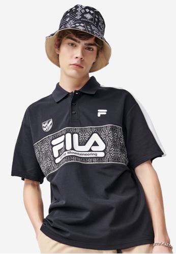FILA black FILA x White Mountaineering Logo Ethnic Print Logo Polo Shirt 1CB9DAA0524E32GS_1
