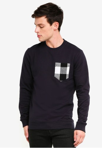 Only & Sons navy Tay Detailed Sweatshirt C5473AAB69D75FGS_1