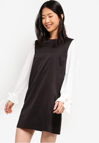 ZALORA BASICS black Basic Sleeves Shift Dress 002DEAA0B4C4F9GS_1