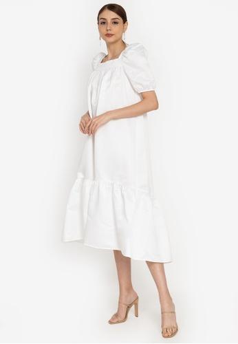 ZALORA OCCASION white Puff Sleeve Satin Dress 8B89DAAD99BCD5GS_1