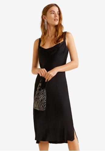 Mango black Satin Dress D4A3FAA963EEC1GS_1