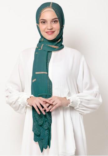 KASHKHA green Pashmina Scarf Cotton Lace on Taraf by Kashkha/A18SHCASFCKGR3000-Teal 47BB0AAC93F50AGS_1