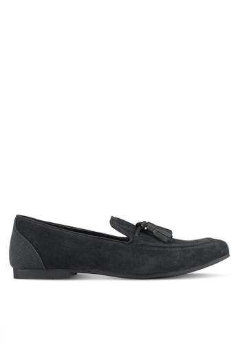 Topman black Faux Suede Flute Loafers TO413SH0SHQNMY_1