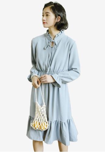 Shopsfashion blue Tie A Bow Collar Midi Dress 0F92DAA07CB064GS_1
