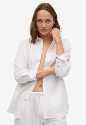 Mango white Pocket Linen Shirt FD116AA416319BGS_1