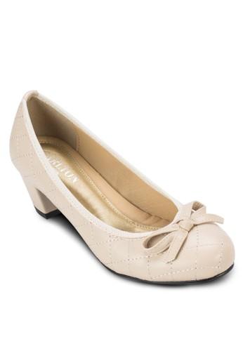 格紋蝴蝶結中跟鞋, 女鞋,esprit taiwan 鞋