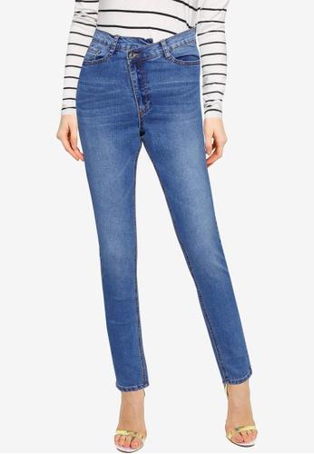 MISSGUIDED blue Mg X Assets Aysmmetric Waist Skinny Jeans 0CE32AAA0E76EDGS_1