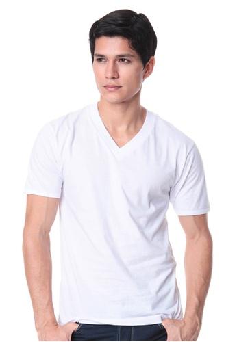 Puritan white Men's V-Neck T-Shirt 210C6US786D802GS_1