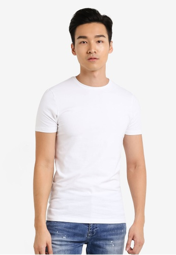 Burton Menswear London 白色 White Muscle Fit T-Shirt BU964AA38JTLMY_1