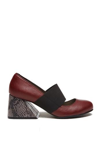 messe 紅色 小羊皮時尚異形粗跟瑪莉珍鞋 ME601SH09PO2TW_1
