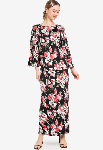 Lubna 黑色 and 紅色 Stretch Puff Sleeve Kurung 2E327AAAF6BC39GS_1