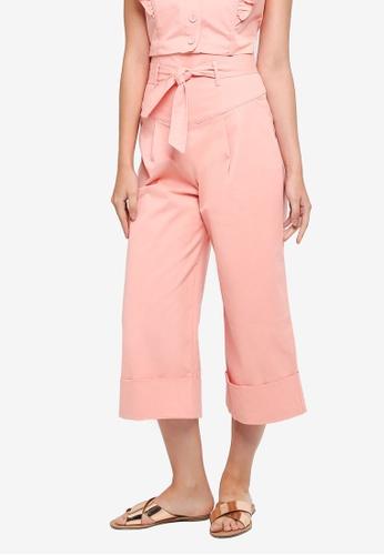 LOST INK pink Paperbag Wide Leg Crop Trousers E16ECAAE83815EGS_1