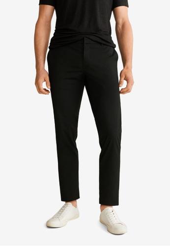 Mango Man 黑色 Slim-Fit Elastic Waist Trousers D9796AA414966FGS_1