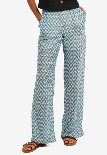Brave Soul blue Wide Leg Zig Zag Trousers B4F5AAAF192800GS_1