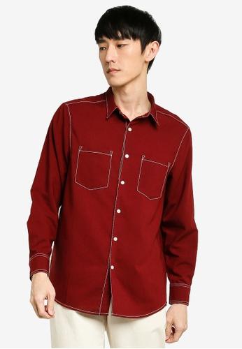 ZALORA BASICS red Contrast Pocket Thread Long Sleeve Shirt 72F4CAA7123C7DGS_1