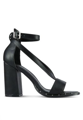 Something Borrowed black Strappy Square Toe Block Heel EEAF7SH325F3B5GS_1