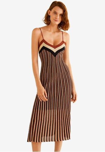 Mango red Metallic Striped Dress 17B6CAA38DA25FGS_1