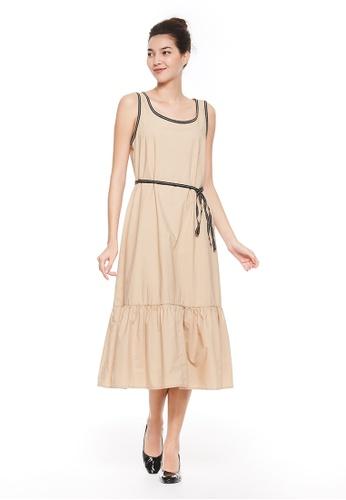 United Colors of Benetton beige Sleeveless Long Dress DCF74AAD73CD44GS_1