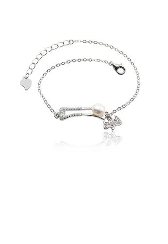 Glamorousky 白色 925純銀簡約創意小狗骨頭淡水珍珠手鏈配鋯石 619D6AC9DE21C9GS_1