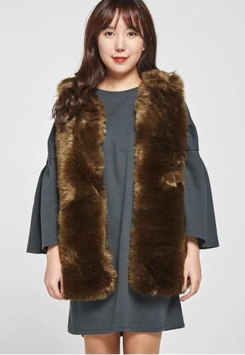 韓流時尚 人zalora 心得造毛皮背心 F4073, 服飾, 上衣