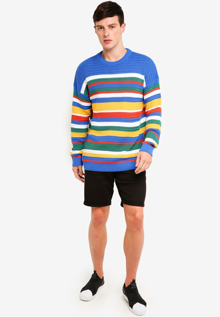 Stripe Topman Jumper Blue Multi Bright qZg5dx