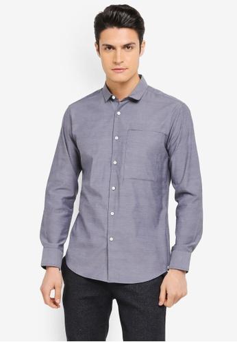 ZALORA navy Pocket Detail Cotton Long Sleeve Shirt 2411CAA0E63069GS_1