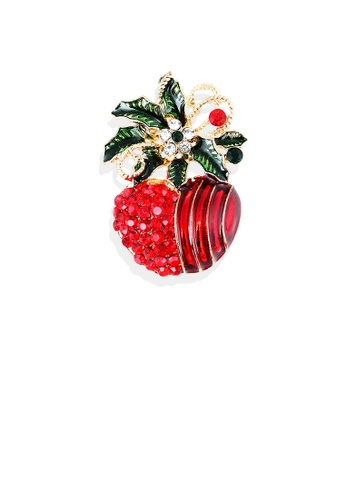 Glamorousky red Fashion and Elegant Plated Gold Christmas Apple Brooch with Red Cubic Zirconia FD0B4AC760B6FCGS_1