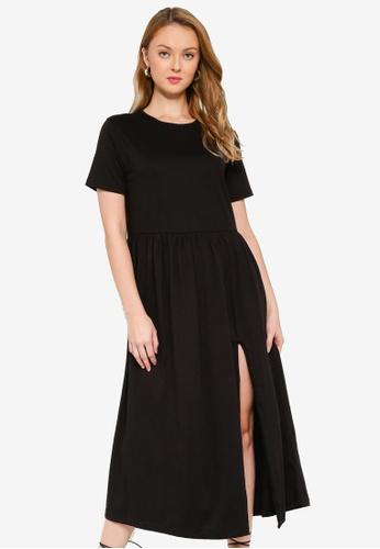 MISSGUIDED black Smock Midi Dress 19DD3AA978B0ADGS_1