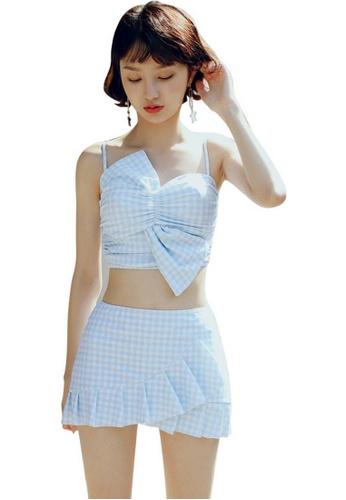 103e05dba3c8 LYCKA blue LVV09927 Lady Butterfly Bow Bikini Two Pieces Set Blue  8655FUSBB8DFC6GS 1