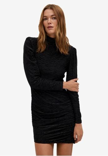 Mango black Draped Shiny Dress 27751AA0F9BDF1GS_1