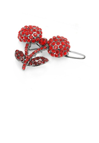 Glamorousky red Cherry Hair Clip in Red Austrian Element Crystals 7E65BAC7158AB3GS_1