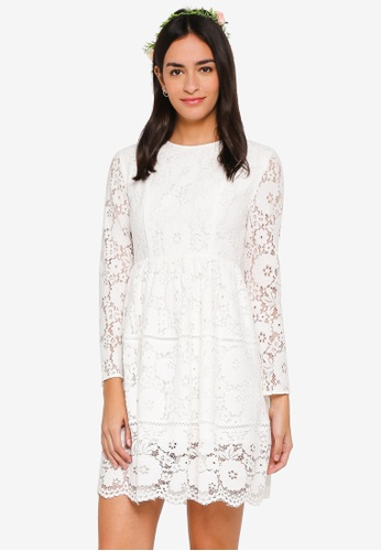 ZALORA white Bridesmaid Fit And Flare Lace Dress 7C283AA2E37337GS_1