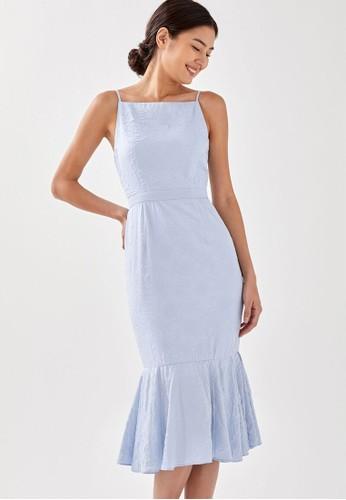 Love, Bonito blue Jiniya Textured Ruffle Midi Dress 99745AAD578243GS_1