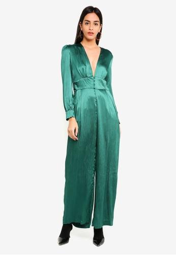 Glamorous green Green Satin Jumpsuit 8956CAA536CB51GS_1