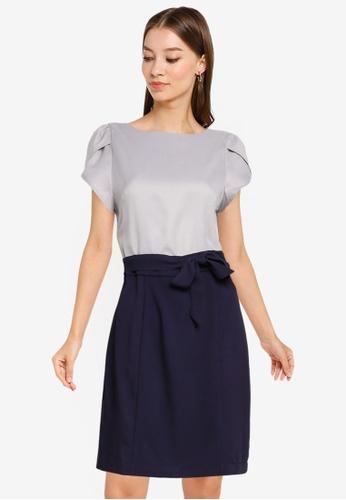 ZALORA WORK multi Petal Sleeves Colourblock Dress C78A7AA1251635GS_1