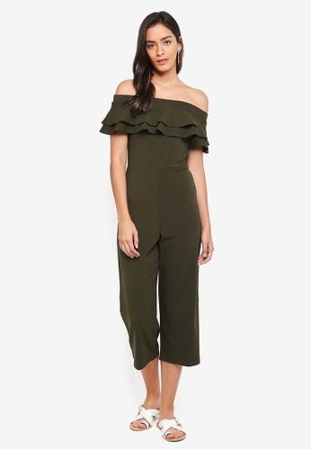 Dorothy Perkins green Bardot Ruffle Culotte Jumpsuit 0C4ECAAA049F35GS_1