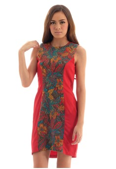 Sleeveless Shift Dress with Floral Jacquard Center Panel