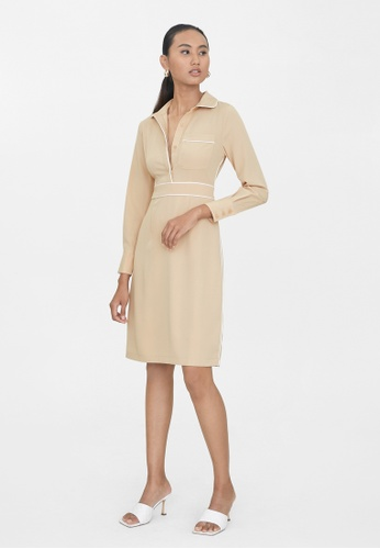 Pomelo beige Contrast Hem Shirt Dress - Beige 8487DAA89A109CGS_1