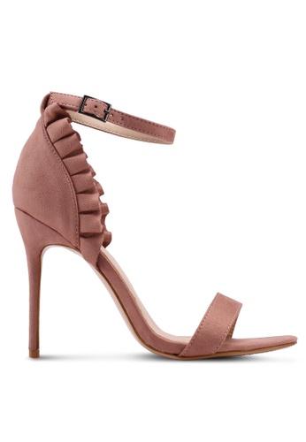 Public Desire 粉紅色 荷葉飾細跟高跟鞋 5E757SH524E048GS_1