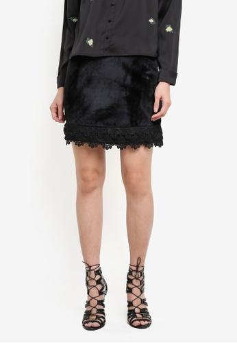Something Borrowed black Lace Trim A-line Skirt 4C0BAAA70F6974GS_1