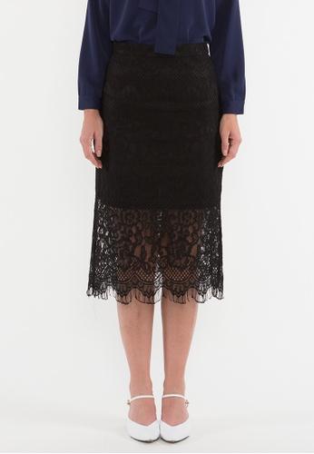 BEBEBEIGE black BebeBeige Rockabilly Ruffled Lace Pencil Midi Skirt 4CB1DAAB46D0E2GS_1