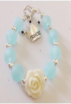 Ocean Blue Bracelet with Flower