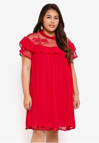 LOST INK PLUS red Plus Size Smock Dress In Mixed Bobby DA702AA0A40F71GS_1
