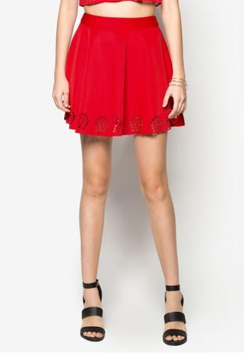 鐳射鏤空zalora時尚購物網的koumi koumi傘狀短裙, 服飾, 服飾