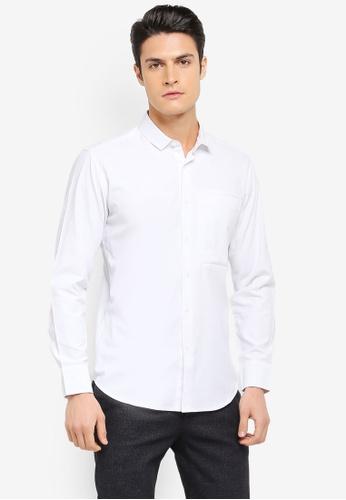 ZALORA white Pocket Detail Cotton Long Sleeve Shirt 2068BAA8CD28B0GS_1